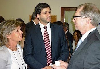 From the left: Consul general Helle Klem, Lucas Marques from Kincaid and the speaker, Mr. Hans Petter Graver.