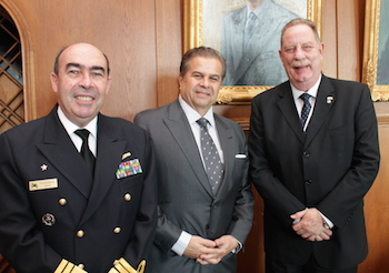 From the left:  Vice-Admiral Claudio Portugal de Viveiros, the director of Ports and Coasts (DPC) in Brazil, José- Roberto Neves, Abran chairman and Vice-Admiral Marcos Nunes de Miranda, the president of the Brazilian Maritime Court.
