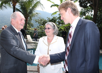 Mr. Erling Lorentzen (to the left) with ambassador Aud Marit Wiig and NBCC president Halvard Idland.