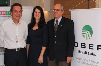 NBCC president Paulo Rolim (to the right) expressed great satisfaction about hosting this event with Mr. Aluízio dos Santos Júnior (to the left), as it is important for the chamber to share success stories and show the good examples from the Brazilian oil and gas industry. The event was sponsored by OSEP, here represented by Riza Batista, CFO of OSEP, in the middle.