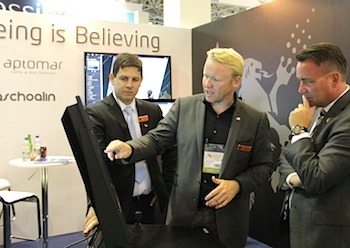 From the left: Rui Orsini, Lars Solberg and deputy minister Kåre Fostervold at the Aptomar stand during Rio Oil & Gas 2014.