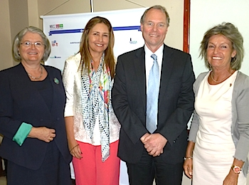 From the left: Ambassador Aud Marit Wiig, NBCC vice president Camila Mendes Vianna, Mr Hans Petter Graver and consul general Helle Klem.