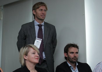 NBCC president Halvard Idland with Helle Moen from Innovation Norway and Johan Linn from GIEK  in the front.