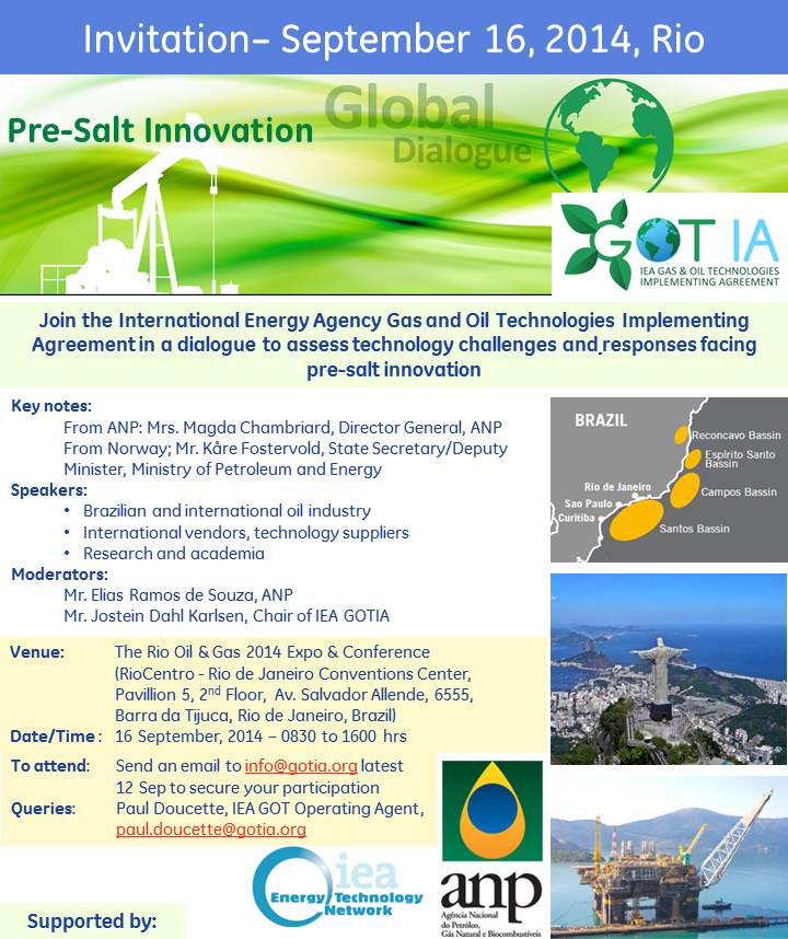 International Energy Agency Gas and Oil Technologies Initiative at Rio Oil and Gas - invitation
