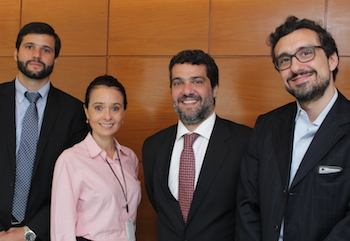 From the left: Lucas Leite Marques (Kincaid), Glorisabel Garrido Thompson-Flôres (NBCC), Flávio Mirza (speaker) and André Carvalho (Veirano).